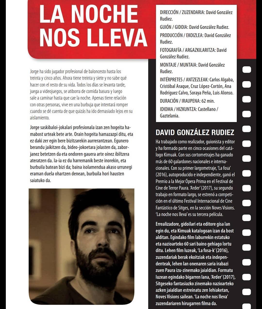 &quote;La noche nos lleva&quote; participará en la Semana del Cine Vasco de Vitoria